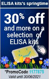 Til 30% off and more on a selection  of ELISA kits  promoCode:1177875 valid until 30/06/2021